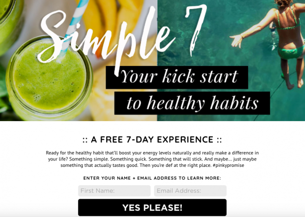 Sample Challenge Landing Page | Marketing for Health Coaches